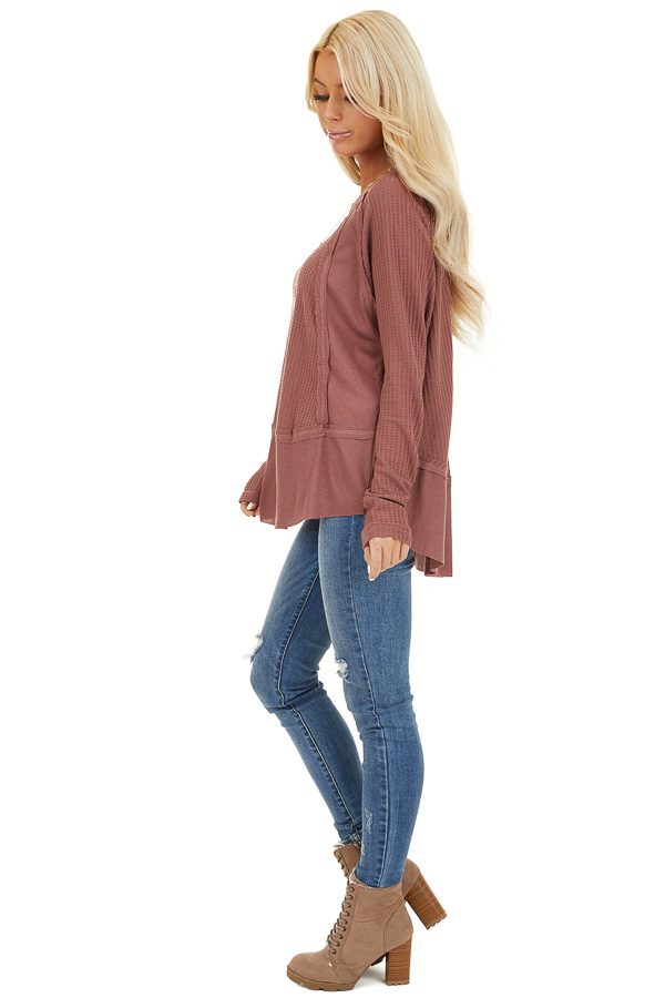 Marsala Long Sleeve Round Neck Top with Ribbed Contrast side full body