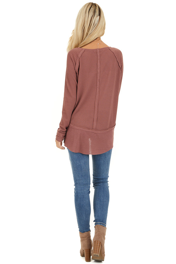 Marsala Long Sleeve Round Neck Top with Ribbed Contrast back full body