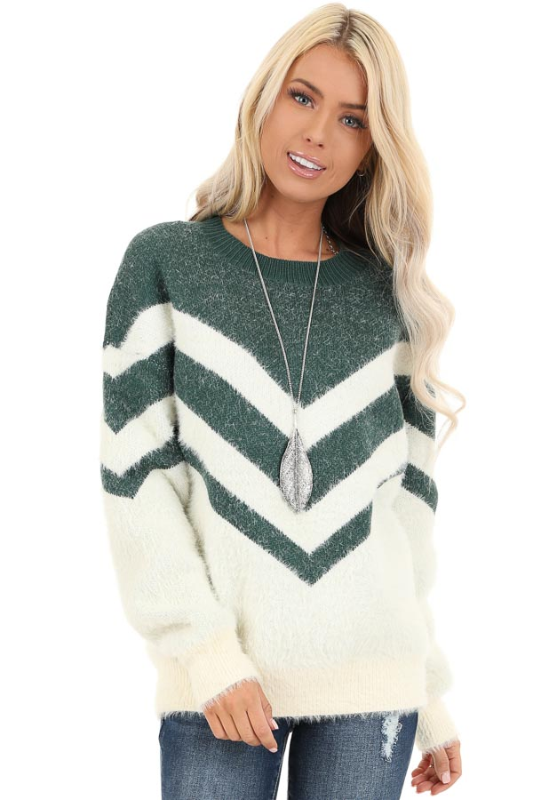 Hunter Green and Ivory Chevron Striped Long Sleeve Sweater front close up