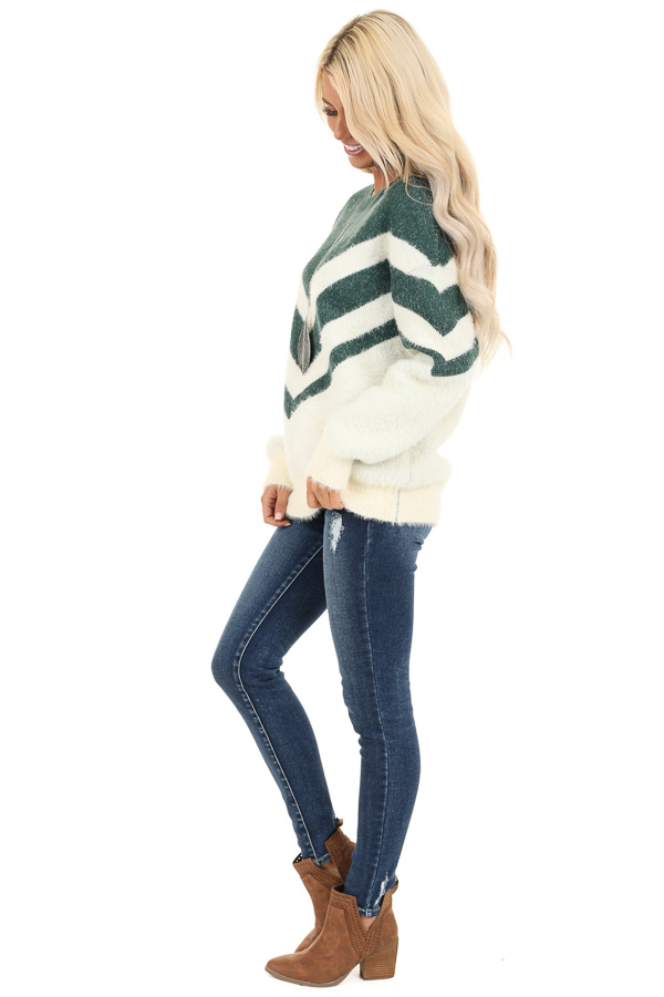 Hunter Green and Ivory Chevron Striped Long Sleeve Sweater side full body