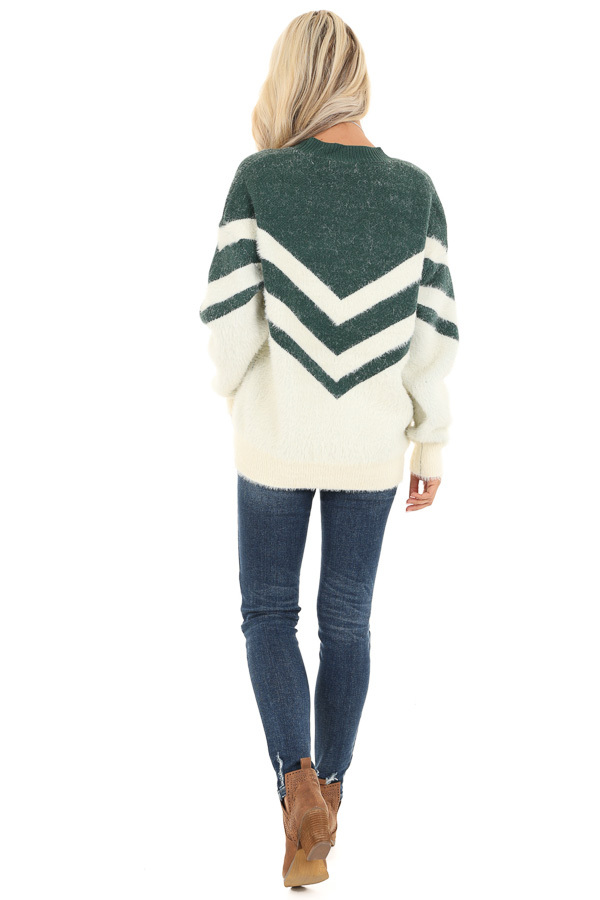 Hunter Green and Ivory Chevron Striped Long Sleeve Sweater back full body