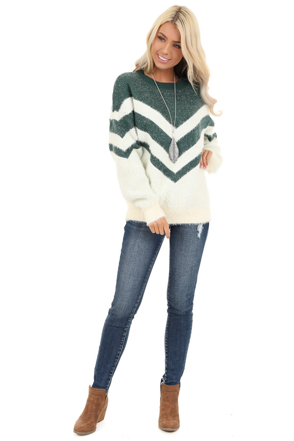 Hunter Green and Ivory Chevron Striped Long Sleeve Sweater front full body