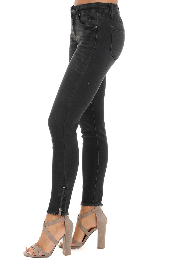 Dark Grey Mid Rise Skinny Jeans with Frayed Ankle Details side view