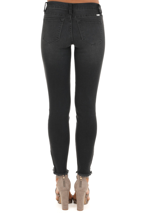 Dark Grey Mid Rise Skinny Jeans with Frayed Ankle Details back view