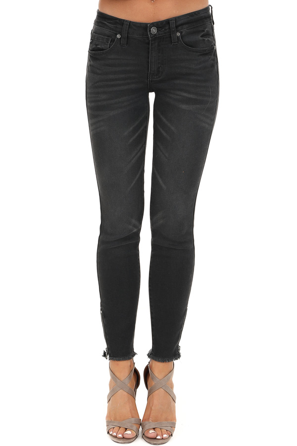 Dark Grey Mid Rise Skinny Jeans with Frayed Ankle Details front view