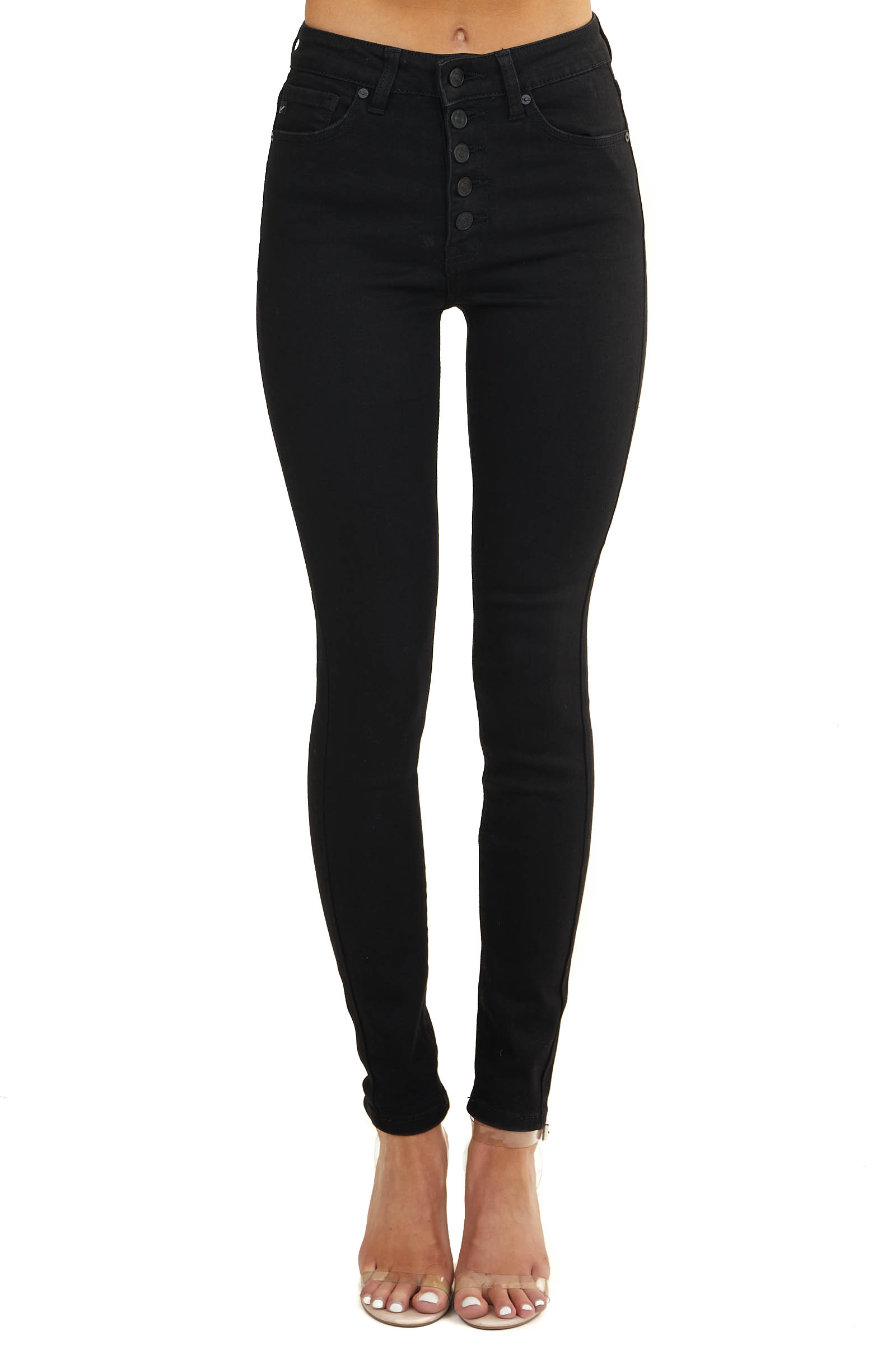 Black High Waisted Skinny Jeans with Multi Button Closure