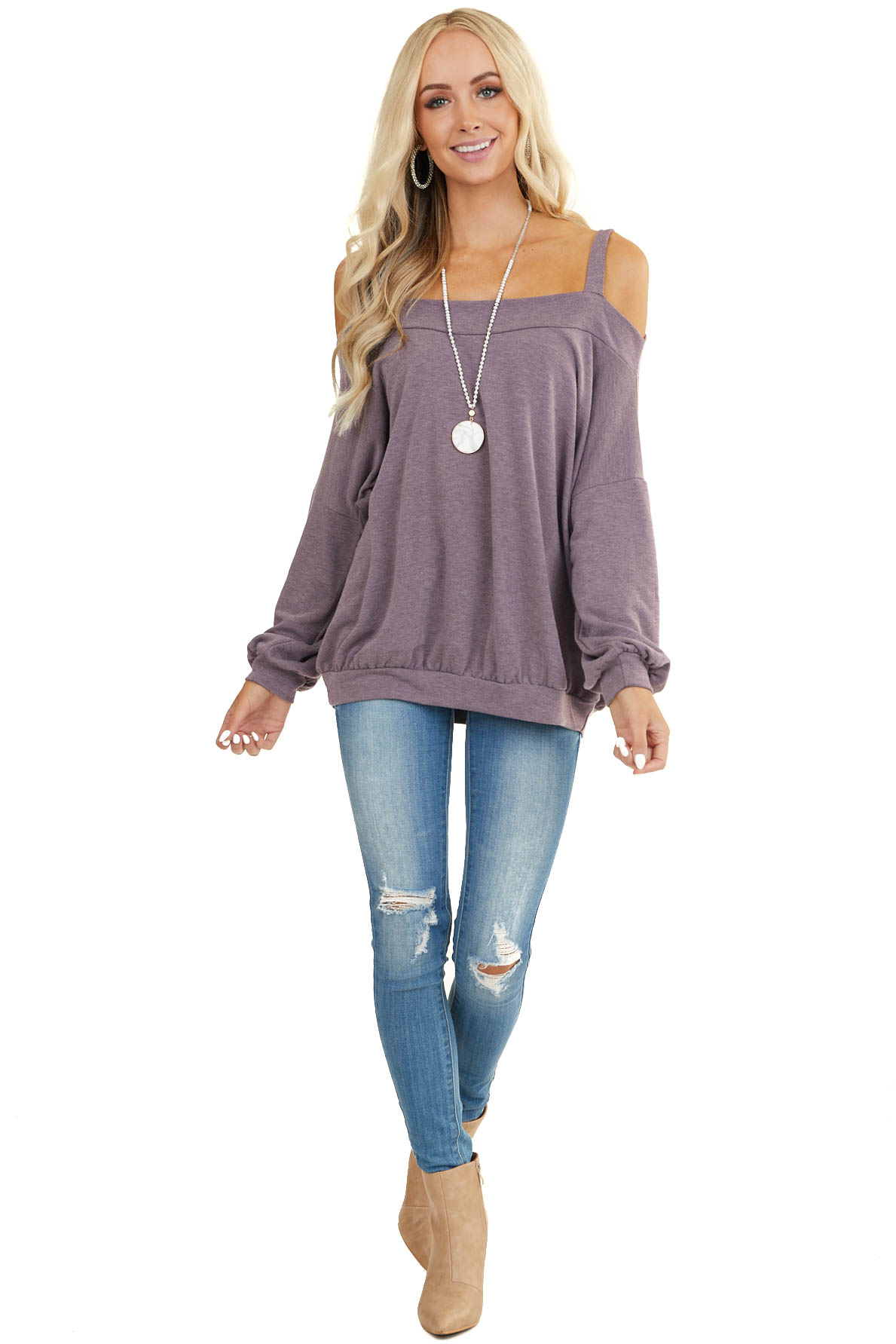 Lavender Cold Shoulder Knit Top with Long Bubble Sleeves