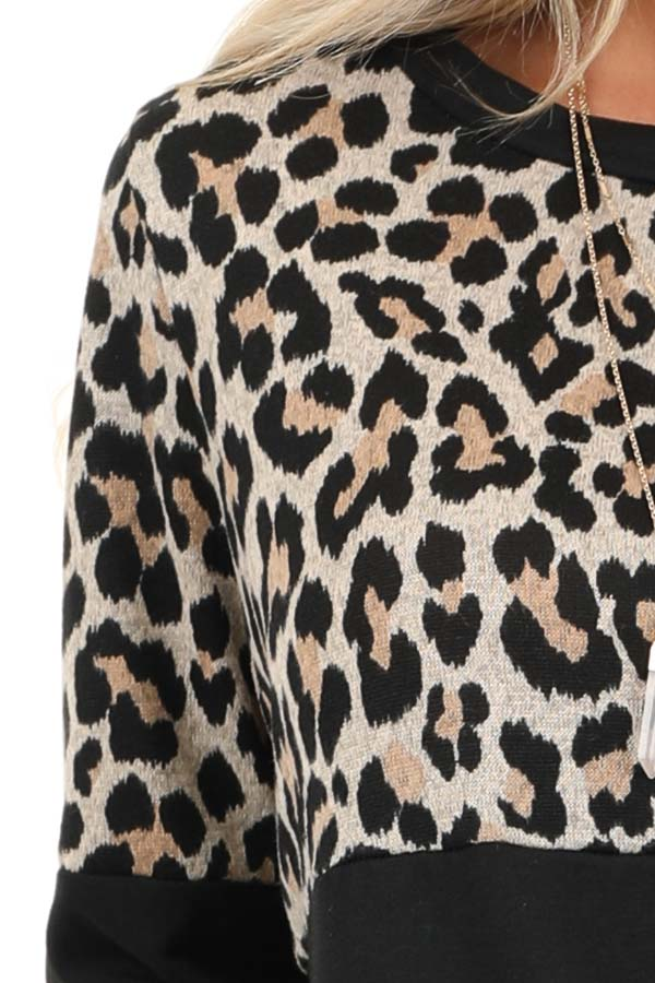 Black and Leopard Print Color Block Top with Long Sleeves detail