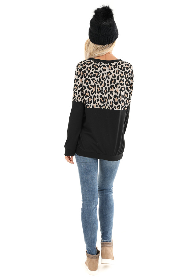 Black and Leopard Print Color Block Top with Long Sleeves back full body
