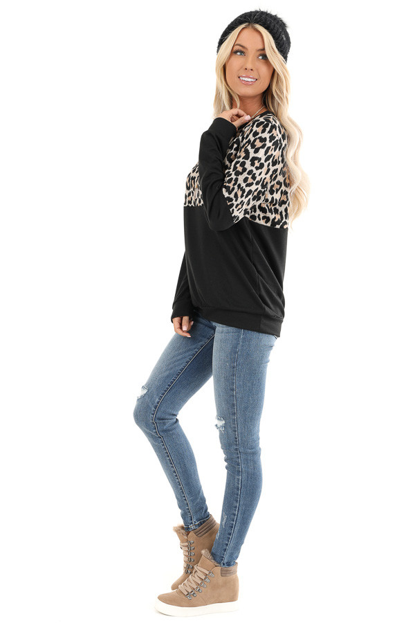 Black and Leopard Print Color Block Top with Long Sleeves side full body
