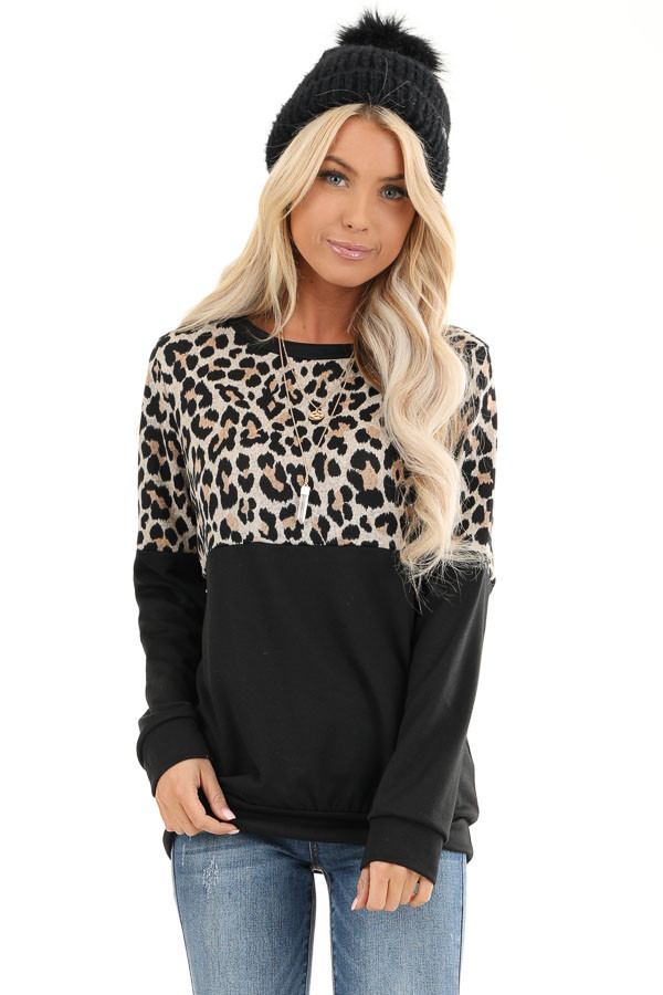 Black and Leopard Print Color Block Top with Long Sleeves  front close up