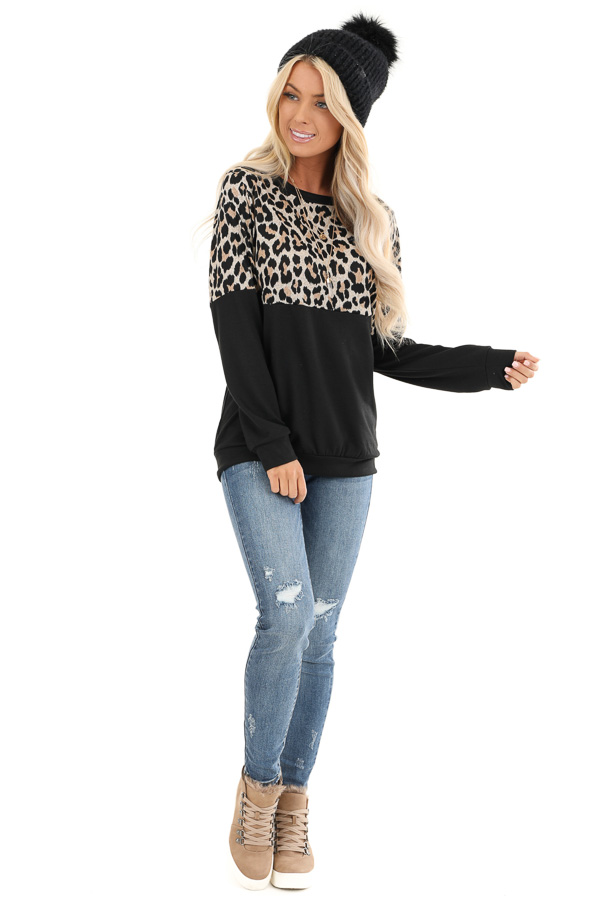 Black and Leopard Print Color Block Top with Long Sleeves front full body