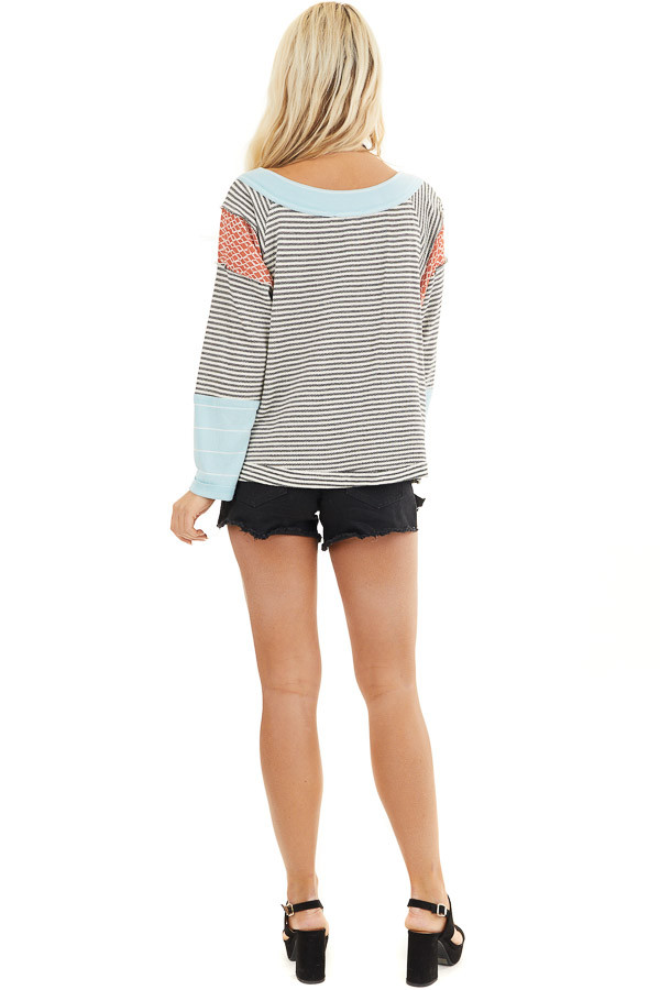 Black and White Striped Long Sleeve Top with Contrast back full body