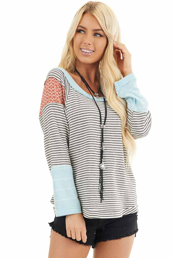 Black and White Striped Long Sleeve Top with Contrast front close up