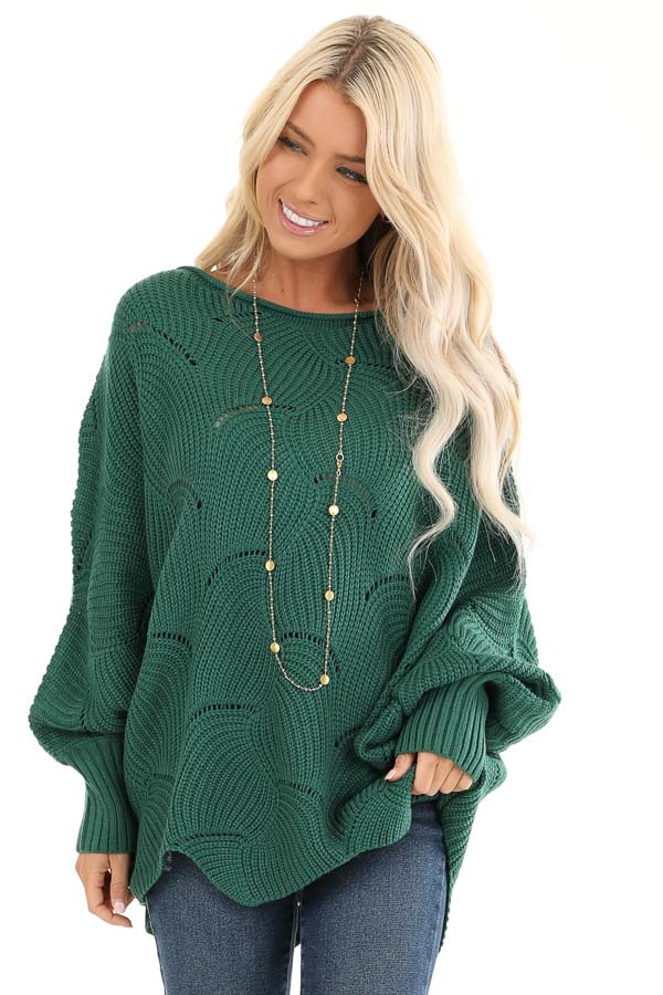 Forest Green Textured Knit Sweater With Long Dolman