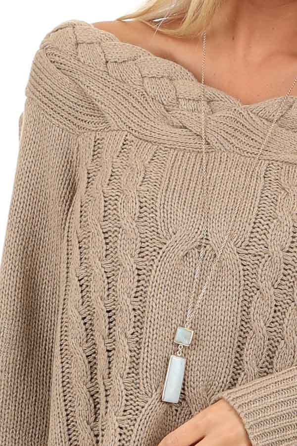 Taupe Off Shoulder Cable Knit Sweater with Braided Details detail