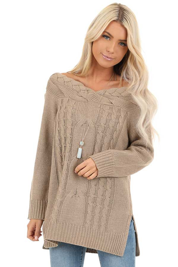 Taupe Off Shoulder Cable Knit Sweater with Braided Details front detail