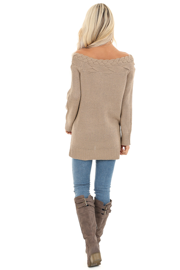 Taupe Off Shoulder Cable Knit Sweater with Braided Details back full body