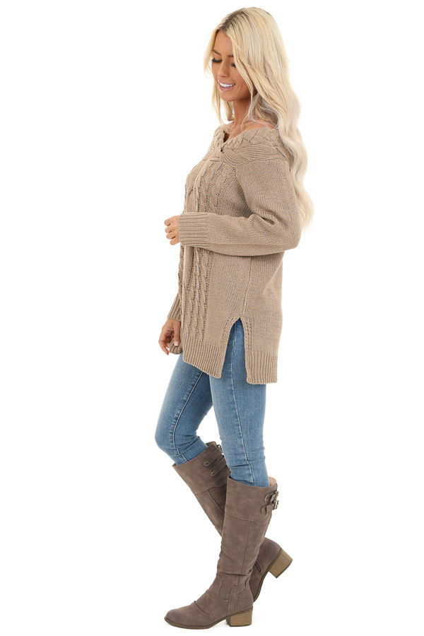 Taupe Off Shoulder Cable Knit Sweater with Braided Details side full body