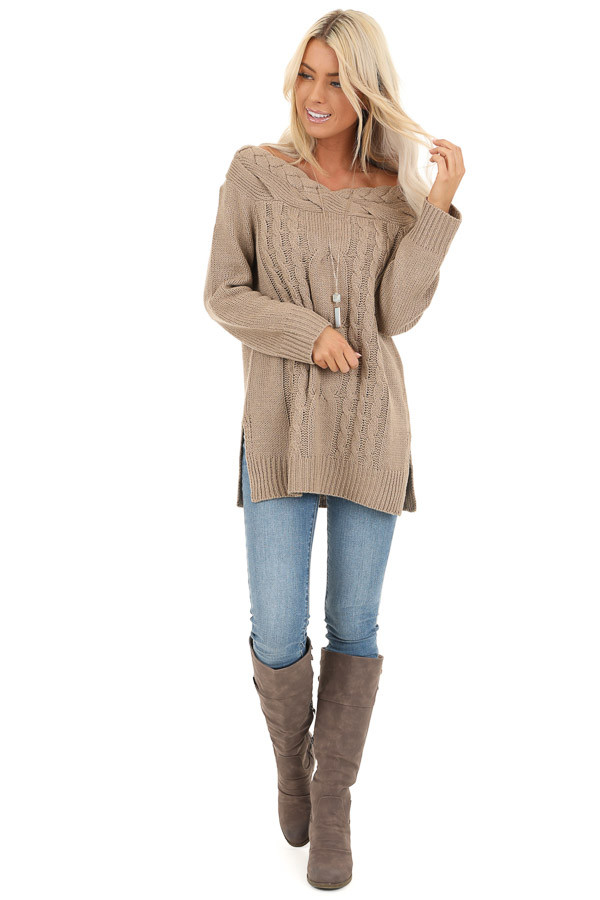 Taupe Off Shoulder Cable Knit Sweater with Braided Details front full body