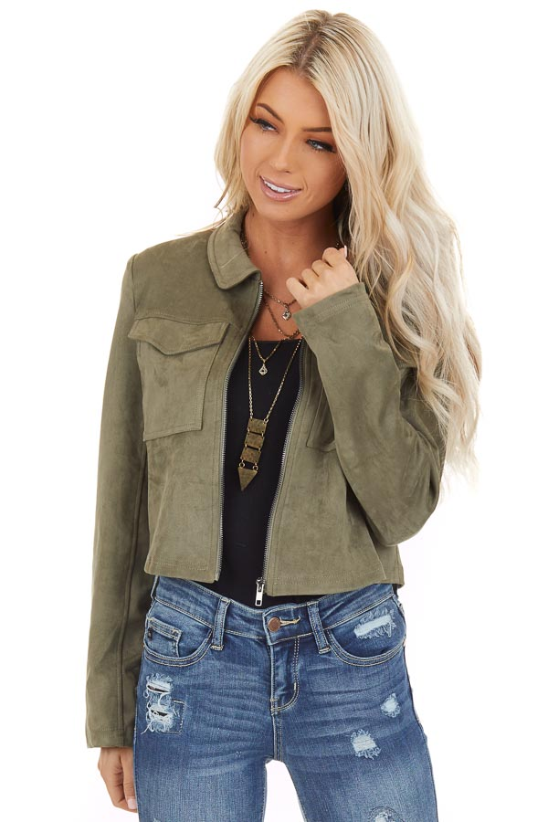 Olive Faux Suede Cropped Jacket with Chest Pockets front close up