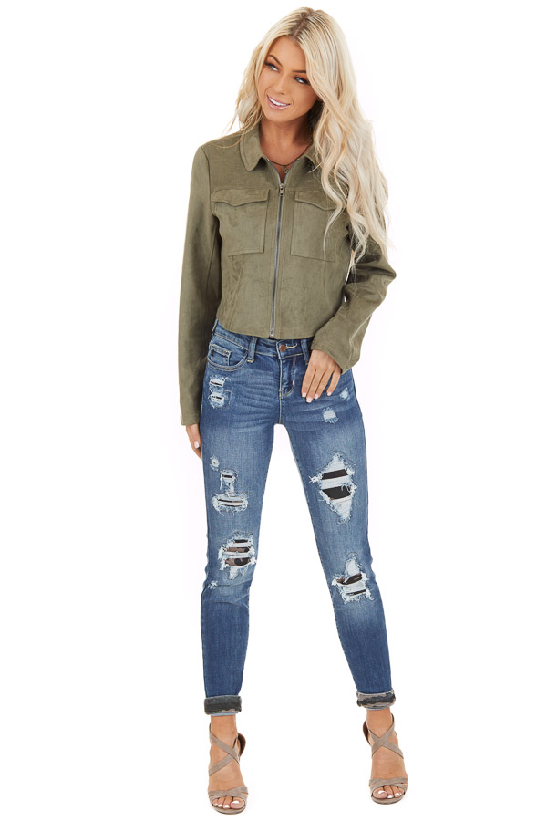 Olive Faux Suede Cropped Jacket with Chest Pockets front full body