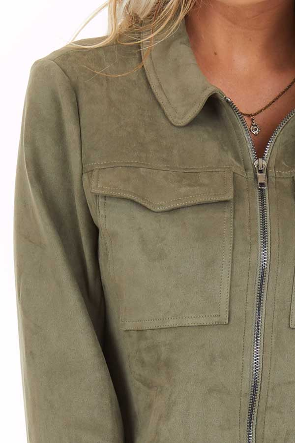 Olive Faux Suede Cropped Jacket with Chest Pockets detail