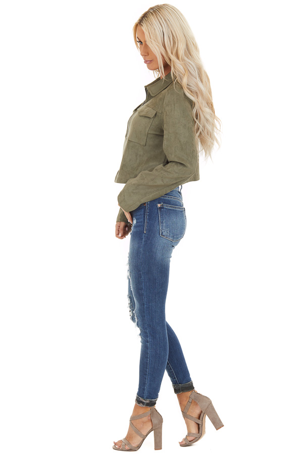 Olive Faux Suede Cropped Jacket with Chest Pockets side full body