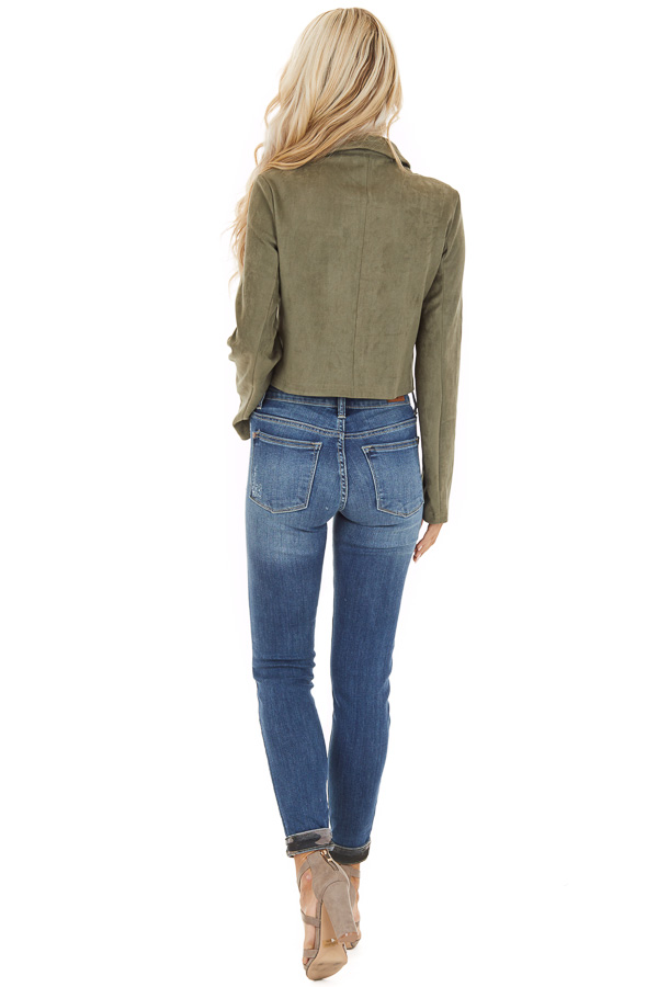 Olive Faux Suede Cropped Jacket with Chest Pockets back full body