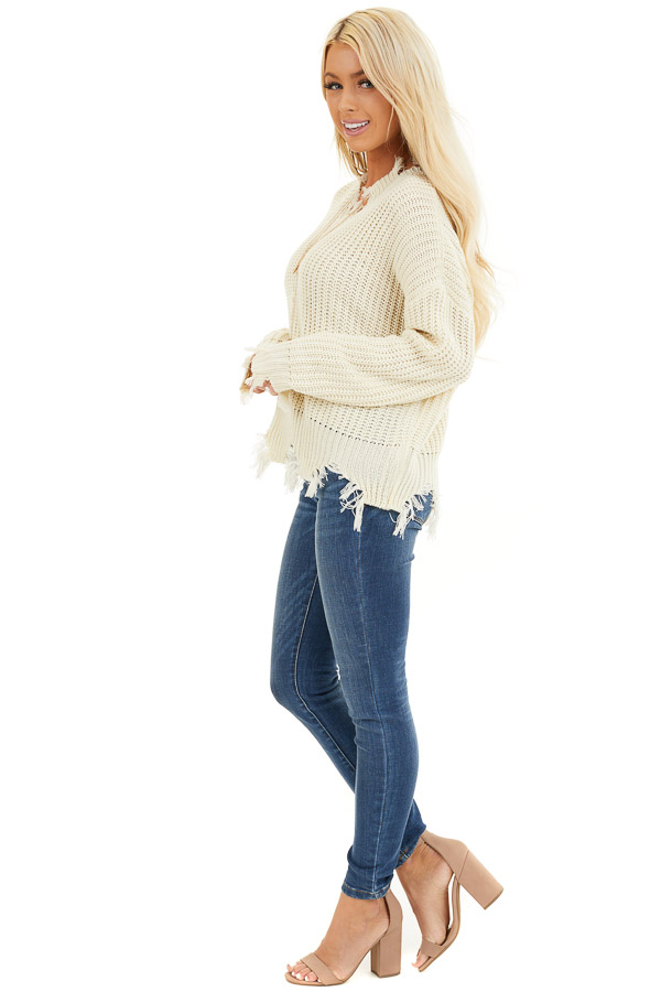 Ivory Long Sleeve Knit Sweater Top with Fringe Detail side full body