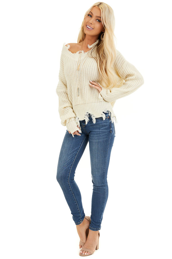Ivory Long Sleeve Knit Sweater Top with Fringe Detail front full body