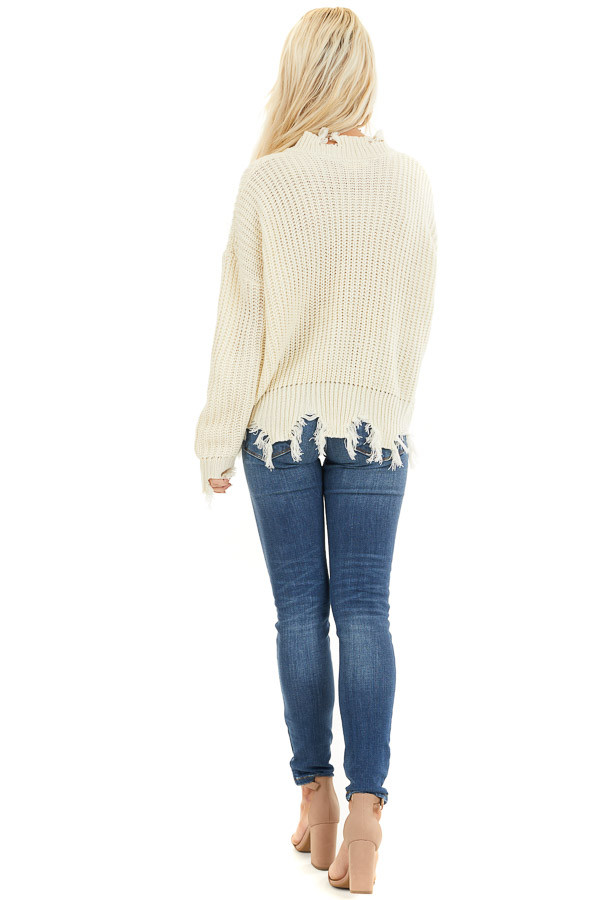 Ivory Long Sleeve Knit Sweater Top with Fringe Detail back full body