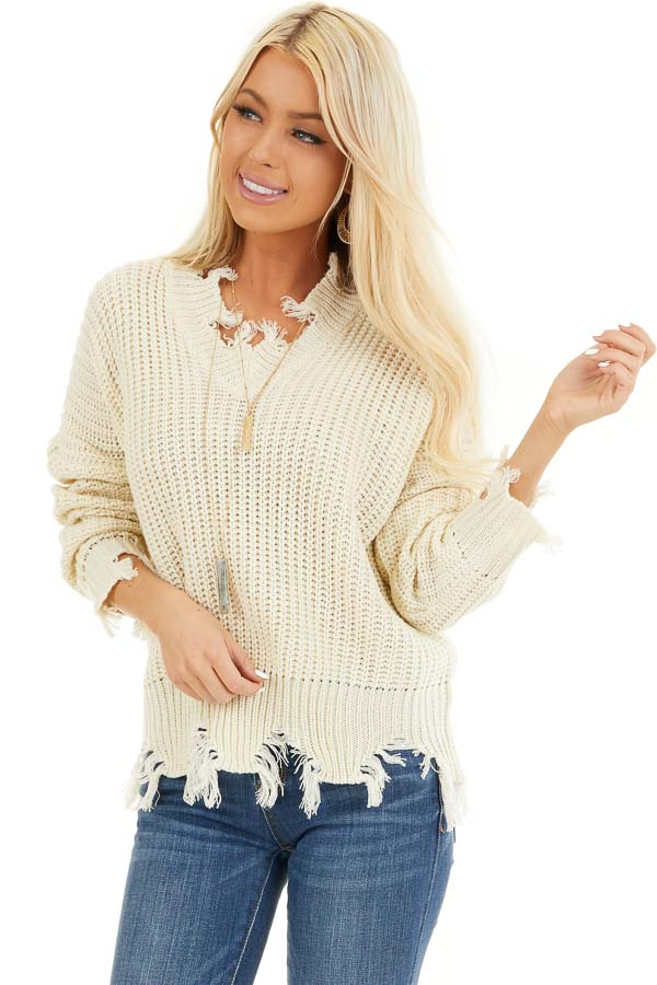Ivory Long Sleeve Knit Sweater Top with Fringe Detail front close up