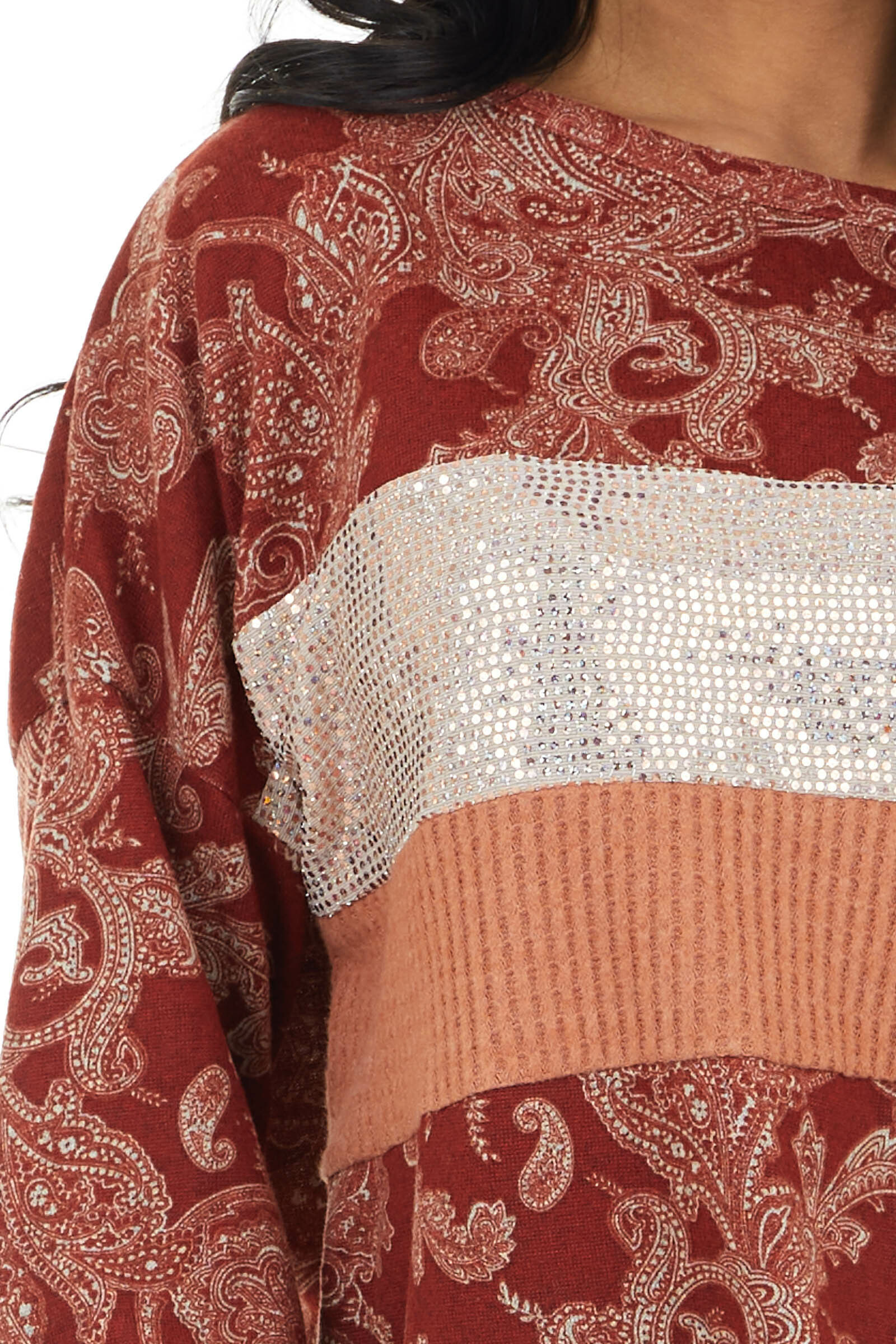 Rust Paisley Print Top with Sequins and Waffle Knit Contrast