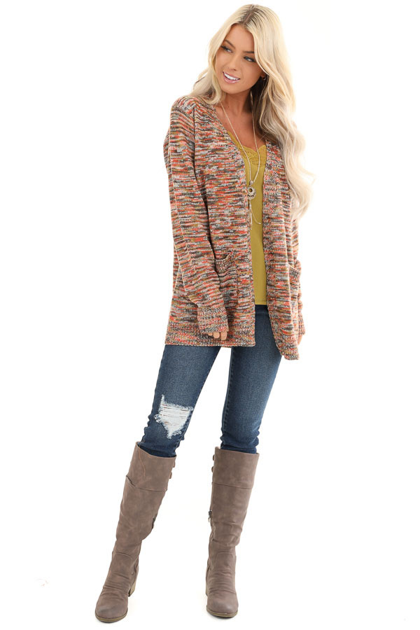 Multi Color Long Sleeve Open Front Cardigan with Pockets front full body