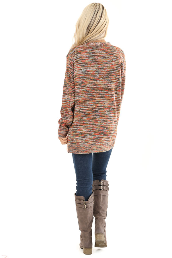 Multi Color Long Sleeve Open Front Cardigan with Pockets back full body