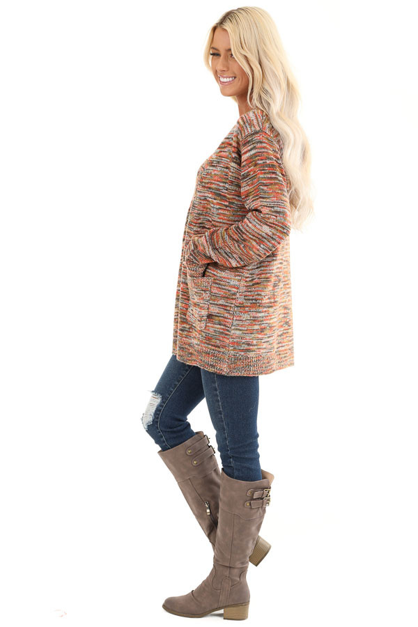 Multi Color Long Sleeve Open Front Cardigan with Pockets side full body