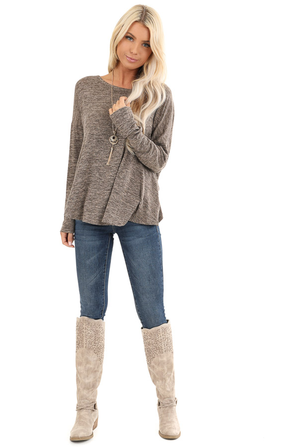 Cocoa and Tan Two Tone Long Sleeve Top with Back Twist front full body