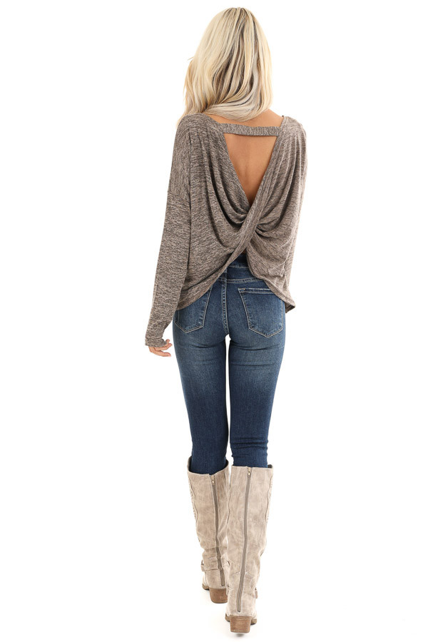 Cocoa and Tan Two Tone Long Sleeve Top with Back Twist back full body