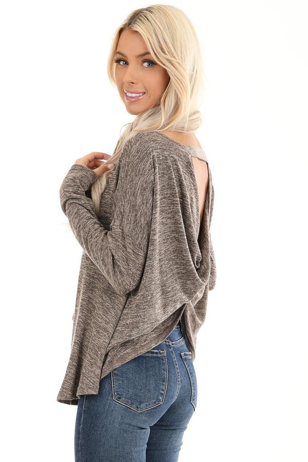 Cocoa and Tan Two Tone Long Sleeve Top with Back Twist front close up