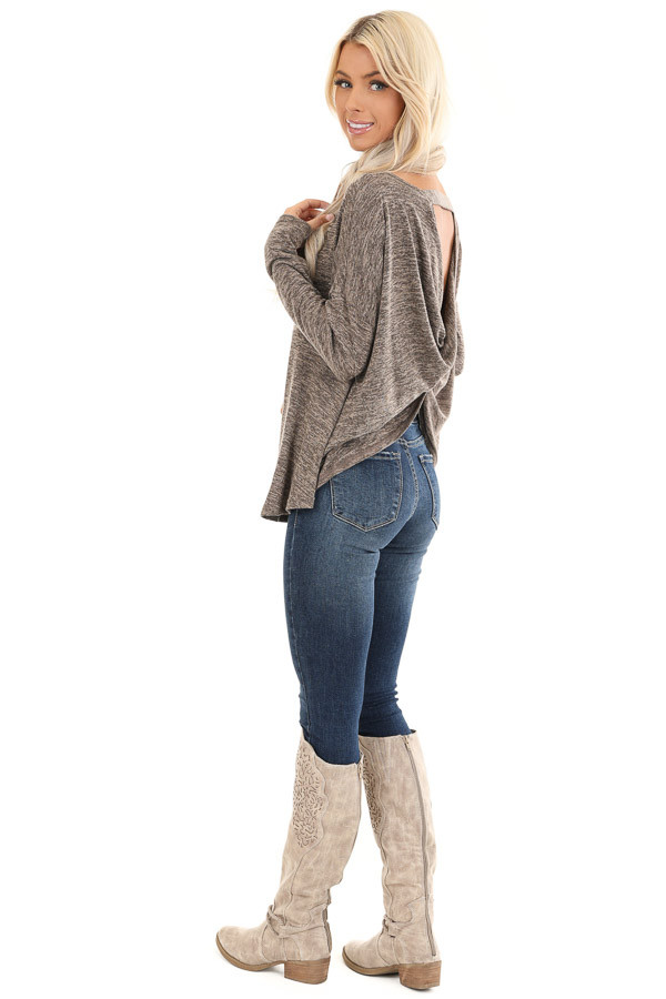 Cocoa and Tan Two Tone Long Sleeve Top with Back Twist side full body