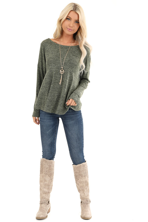 Olive and Charcoal Two Tone Long Sleeve Top with Back Twist front full body