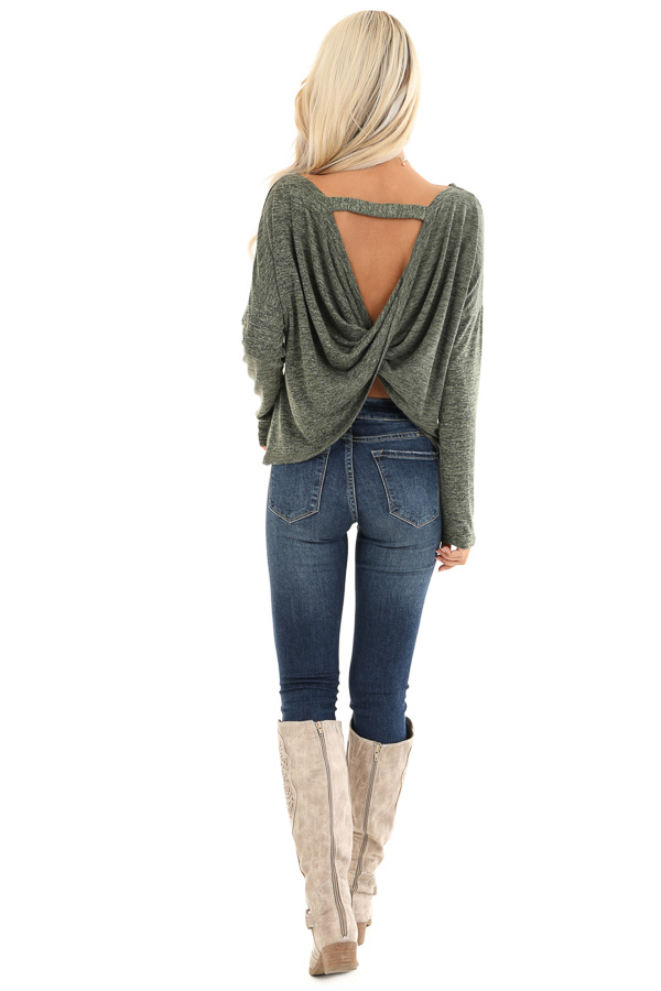 Olive and Charcoal Two Tone Long Sleeve Top with Back Twist back full body