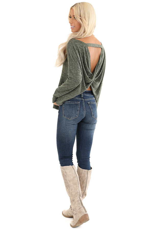 Olive and Charcoal Two Tone Long Sleeve Top with Back Twist side full body