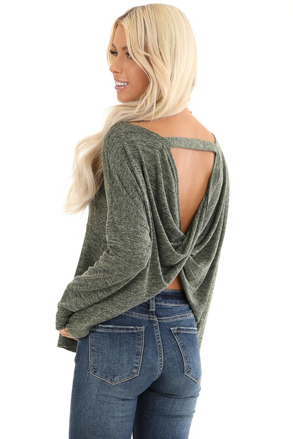 Olive and Charcoal Two Tone Long Sleeve Top with Back Twist front close up