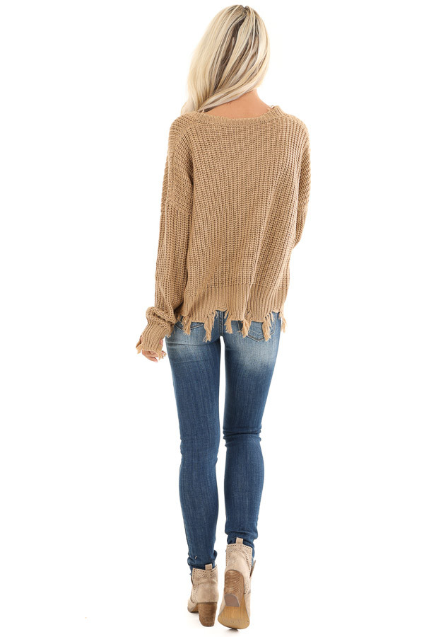 Camel Long Sleeve Knit Sweater Top with Fringe Detail back full body