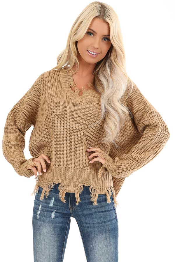 Camel Long Sleeve Knit Sweater Top with Fringe Detail front close up