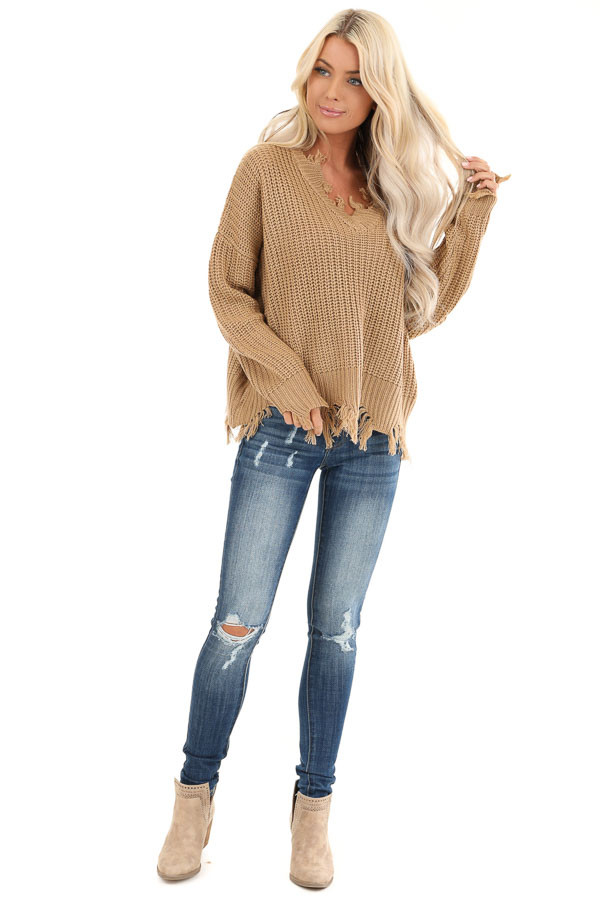 Camel Long Sleeve Knit Sweater Top with Fringe Detail front full body