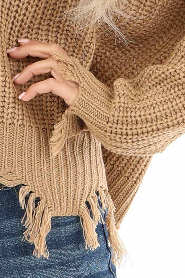 Camel Long Sleeve Knit Sweater Top with Fringe Detail detail