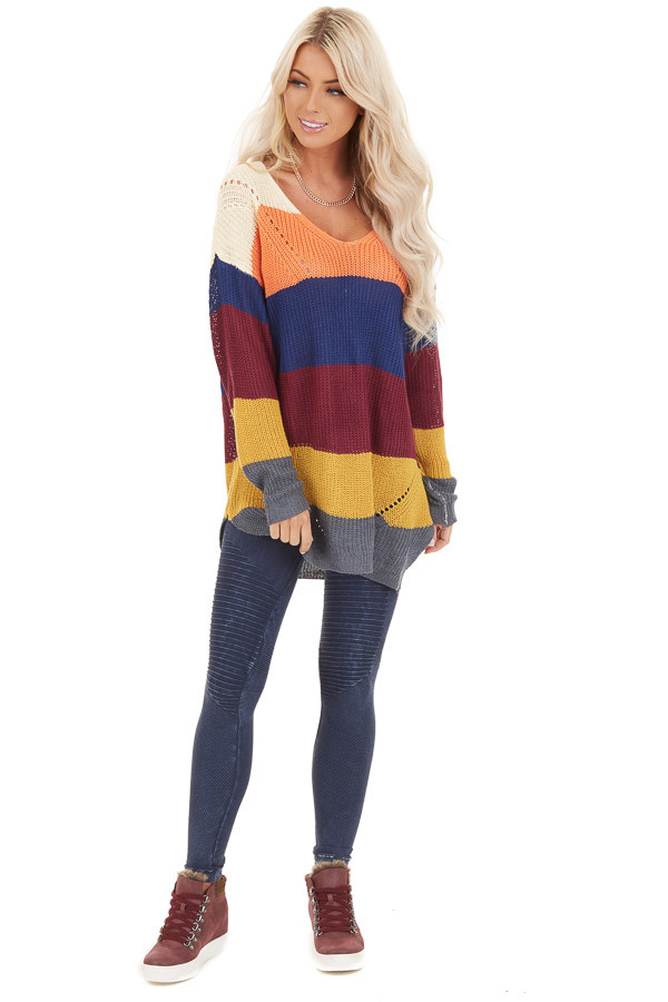 Multi Color Striped Lightweight Sweater with Long Sleeves front full body